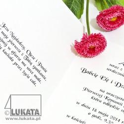 Zaproszenie komunijne z hostią IHS - treść