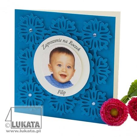 Zaproszenie na chrzest z wzorem kwiatek niebieskie