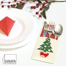 Etui na sztućce Boże Narodzenie z choinką 03