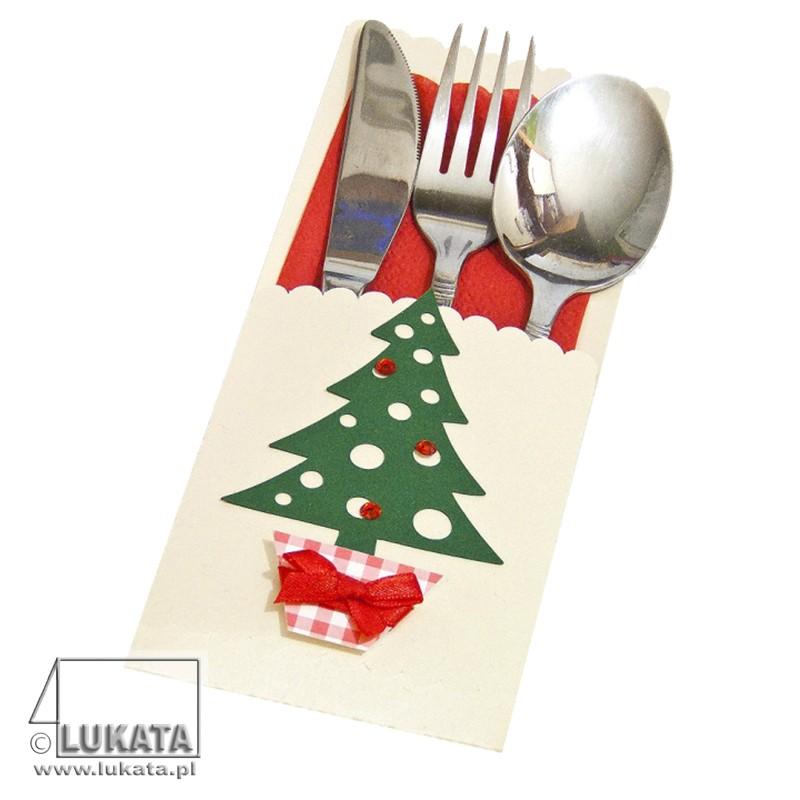Etui na sztućce Boże Narodzenie z choinką 01